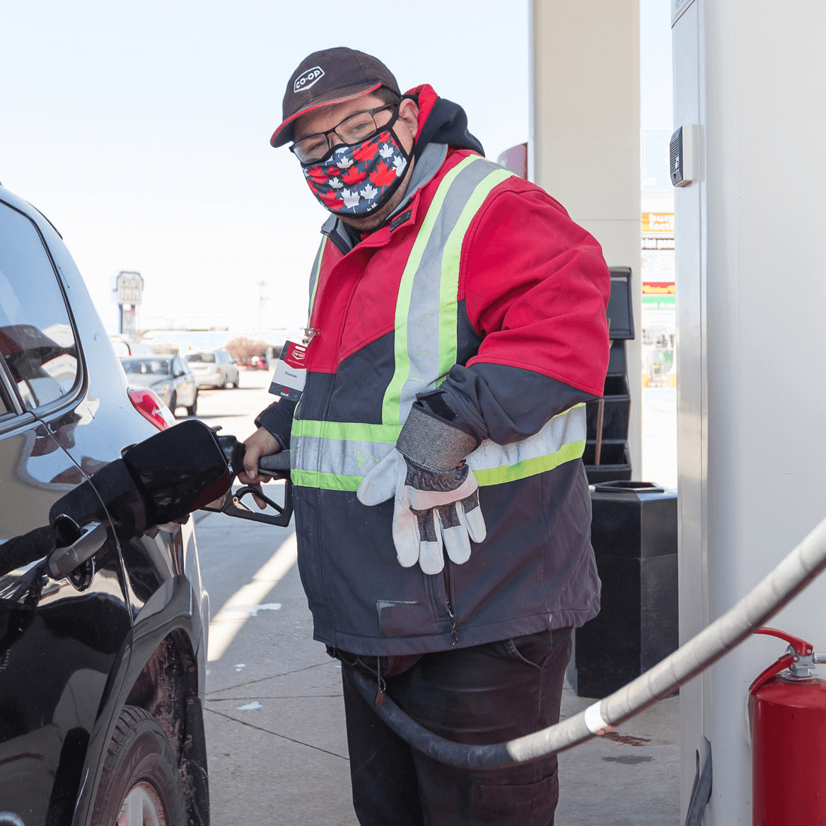 Client working at gas station